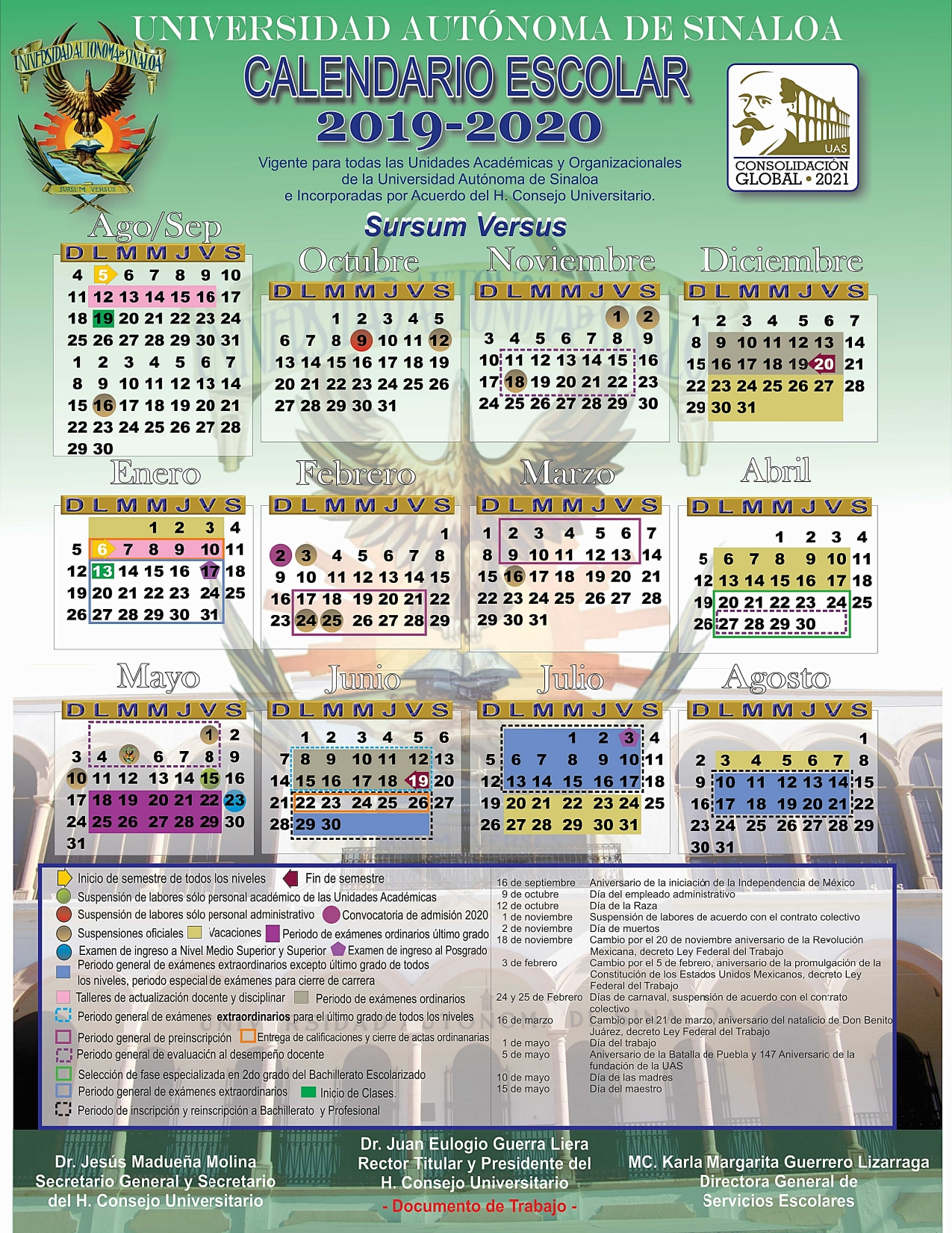 Calendario Universitario.Facultad De Medicina Calendario Universitario 2019 2020