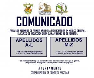 COMUNICADO INDUCCION